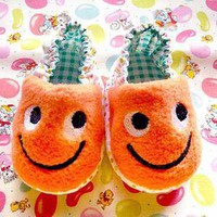 Impish Monster Baby Booties (Orange Fleece)