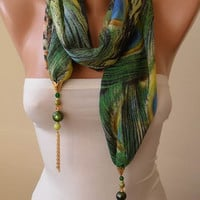 Trending Scarf - Jewelry Scarf - Mother&#x27;s Day Gift - Green Chiffon Fabric with Golden Sequins - Beads and Chain
