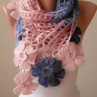 Mother's Day - Pink - Blue and Dark Blue Wool Crochet Scarf - Handknit - Winter Scarf
