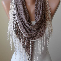Triangular - Brown - Leopard Triangular Scarf with Cotton Trims Edge