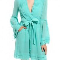 Pleated Bust Bell Sleeve Dress