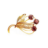 Gold Filigree Purple Rhinestone Brooch / Pin