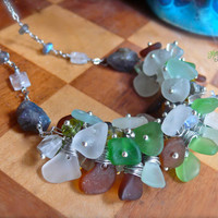 Sea Glass Necklace made in Hawaii, Hawaiian Jewelry for Beach Brides & Island Weddings