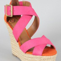 Delicious Hall-S Colorblock Criss Cross Wedge