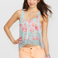 Floral Button Front Tank