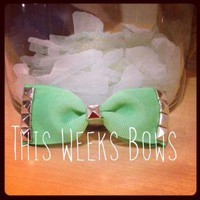 Mint Green Studded Hair Bow by ThisWeeksBows on Zibbet