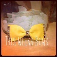 Sunflower Yellow Studded Hair Bow by ThisWeeksBows on Zibbet