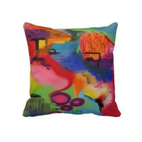 Abstract Color City Throw Pillow from Zazzle.com