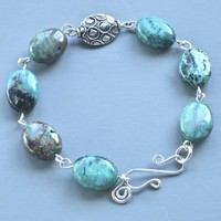 African Turquoise silver filled wire-wrapped bracelet