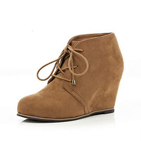 Brown lace up wedge ankle boots - wedges - shoes / boots - women