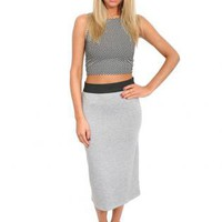 Pilot Mia Plain Midi Skirt in Gray