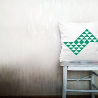 Emerald pillow decorative throw pillow geometrical pillow cover white cotton toss chevron pillow case bedding set 18x18 inches ohtteam