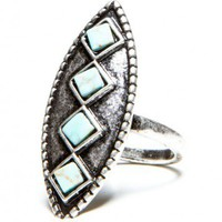 Brandy ♥ Melville |  Vintage Diamond Turquoise Ring - Accessories