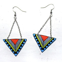 Geometric earrings   Free shipping Multicolor by MakeUnique