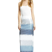 VON VONNI COLLECTION Blue Reflection Sequin Stripe Maxi Skirt