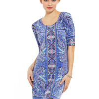 MLLE GABRIELLE Blue Paisley Placement Print Shift Dress