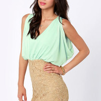 Two-Laced Mint and Beige Lace Dress