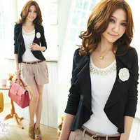 Noble Women Flower Flutter Fitted Coat Jacket Tops Suits Cardigan Collarless vE