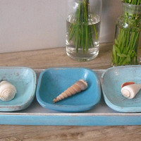 4 pc Upcycled vintage wood tray and bowls in cottage beach colors Aqua blue white .. organize Display