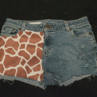 Distressed Giraffe Short Shorts