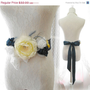 MOTHERS DAY SALE Lace Flower Rose Satin Belt Obi Sash in Pale Yellow White Navy - Wedding Romantic Rosettes Sash Pearl Feather French Count
