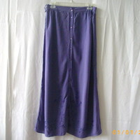 Penmans small purple long rayon skirt, button-through with self-embroidery