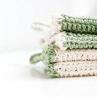 Eco cotton dish cloths Green and white Set of two Eco by Varm