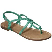 Women&#x27;s Merona Emily Braided Strap Gladiator Sandal - Turquoise