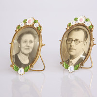 Antique miniature picture frames that are also picture frame brooches