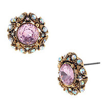 Betsey Johnson Iconic Pink Crystal Stud Earrings | Dillards.com