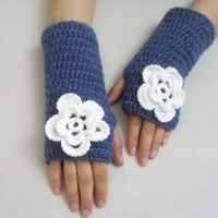 Gloves, Accesories, Jean blue, Spring Gloves, gifts, Blue  Fingerless gloves with white flower, mom gift