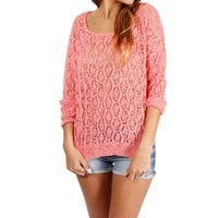 SALE-Coral Pointelle Sweater