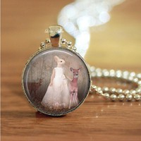 rabbit human deer forest glass dome necklace keychain