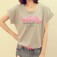 Pink Moustache Nail Bead Loose T-shirt