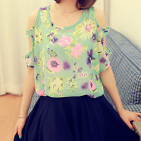 Vintage Summer Flowers Strapless Loose T-shirt
