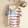 The American flag loose bat sleeve T-shirt