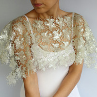Fantasy Lace Capelet in Beige - Light Grey. Handmade Top Wear. Unique Design