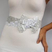 Silver Sequined Bow Wedding Dress Belt, White Lace Applique Embroidered Bridal Sash. Handmade