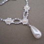 Vintage Rhinestone Pearl Drop Wedding Formal Strand Necklace