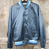 70s Shiny Blue Swingster Baseball Jacket, Men&#x27;s S-M, Women&#x27;s M-L // Vintage Navy Varsity Jacket
