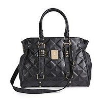 Kardashian Kollection  Quilted Black Satchel Handbag
