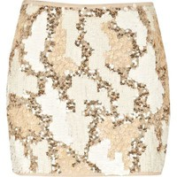 cream sequin mini skirt - mini skirts - skirts - women - River Island