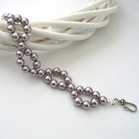 Lilac Blush Pearl Bracelet 2 starnd Shell Pearl Bracelet, Gift for her, Wedding Jewelry Summer Colours