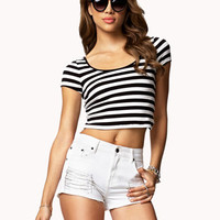 Cross Back Striped Crop Top