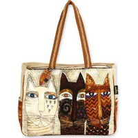 "Amazon.com: Laurel Burch Ancestral Cats Extra Large Tote, 22"" X 5.5"" X 15.5"", with Wood Charm: Arts, Crafts & Sewing"