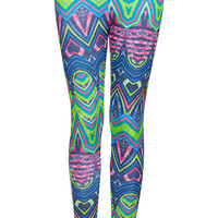 Multi Aztec Scuba Leggings - New In This Week - New In - Topshop