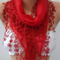 Super elegant scarf/shawl Cotton scarf Red scarf Mothers Day gift