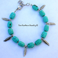 Turquoise Bracelet - Silver Feather Bracelet - Charm Bracelet - Turquoise And Silver - Beaded - Tribal - Boho - Gift For Her - Small Anklet
