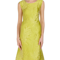 Palm Leaf Jacquard Sheath Dress