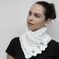 Cozy Neck Warmer White Classica Warm Cowl Shawl by by Solandia
